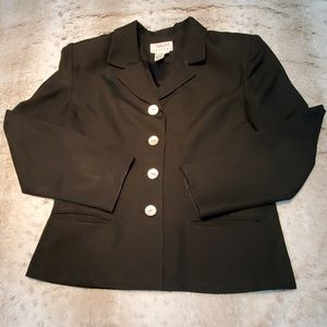 Talbots Petites Black Linen Blend 4 Button Blazer